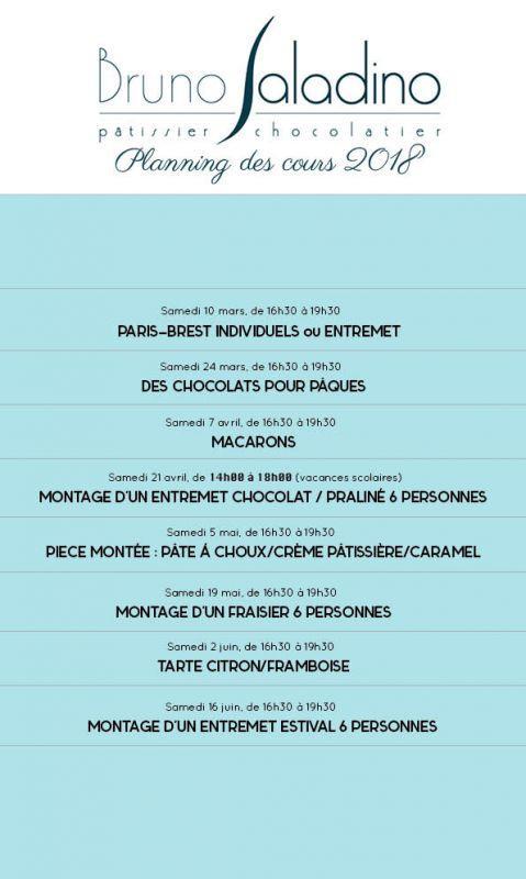 Planning des cours de pâtisserie et chocolat qui débuteront début mars