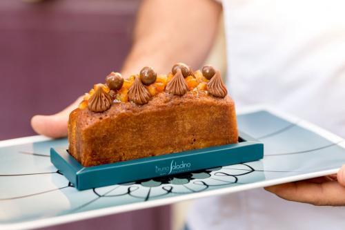 Cake moelleux a l'orange confite et gianduja noisette